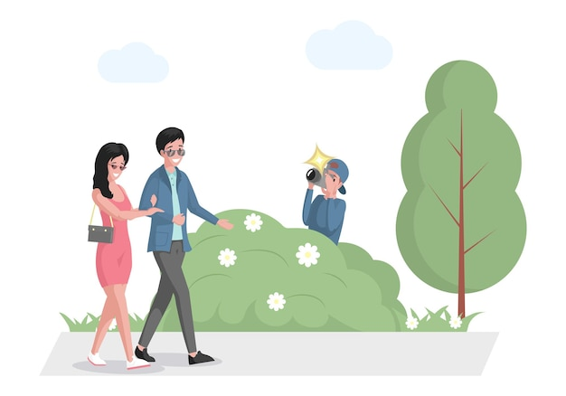 Casal de celebridades caminhando no parque de paparazzi se escondendo no mato com