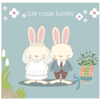 Casal de coelhinhos de casamento bonito