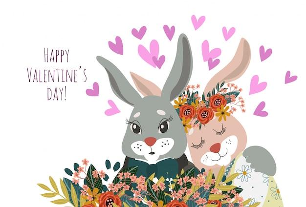 Casal de coelhos em close-up de amor com flores e corações