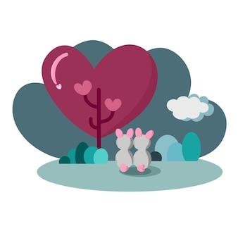 Casal de coelhos nas costas juntos no jardim com o conceito de amor de árvore em forma de coração dia dos namorados