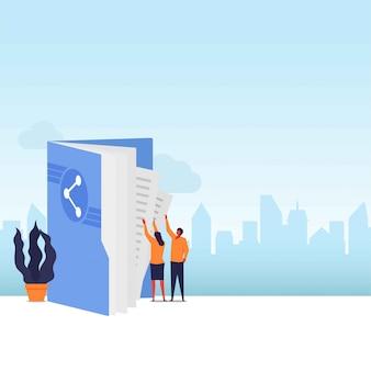 Casal de compartilhamento de dados plana leva arquivos da pasta com o ícone de compartilhamento.