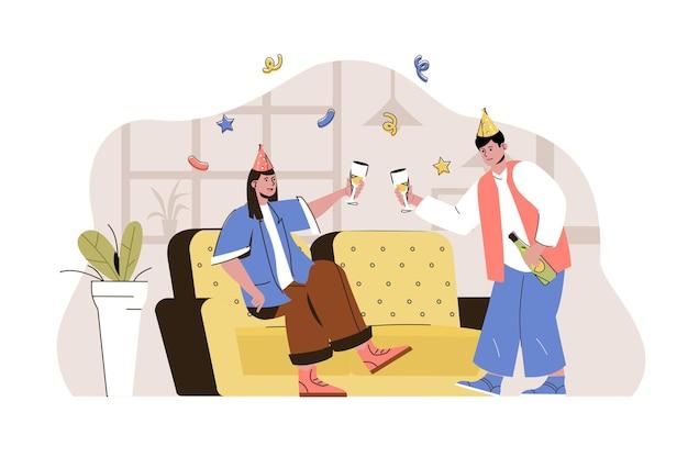 Casal de conceito de tempo de festa em cones festivos bebendo e se divertindo