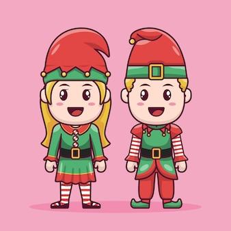 Casal de conto de fadas anão engraçado design de personagens de desenhos animados