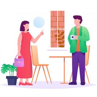 Casal de conversa na ilustração plana de café
