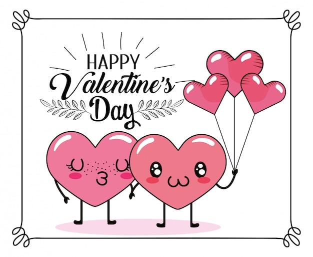 Casal de corações bonitos juntamente com balões