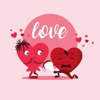 Casal de corações fofos com personagens de buquê de rosas