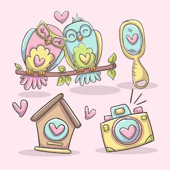 Casal de corujas, casa de passarinho, câmera e espelho. conjunto de elementos