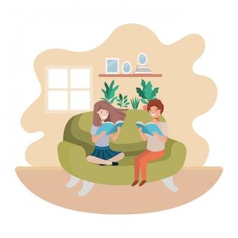 Casal de crianças com livro no personagem de avatar de sala de visitas