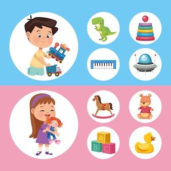 Casal de crianças e brinquedos