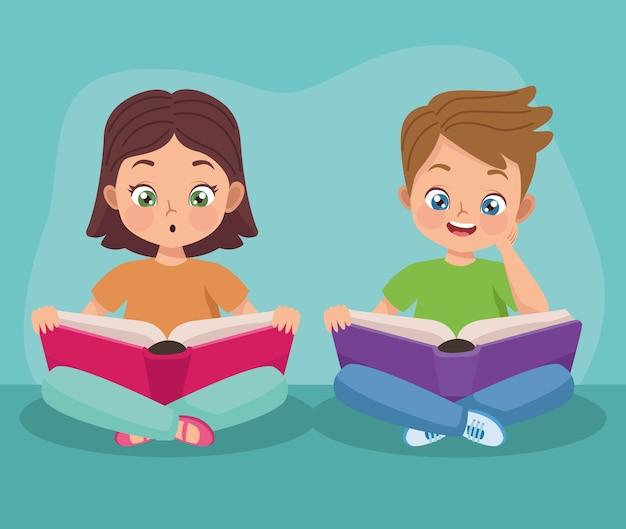 Casal de crianças lendo livros