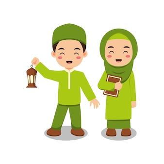 Casal de crianças muçulmanas fofas segurando al alcorão e lanterna Vetor Premium