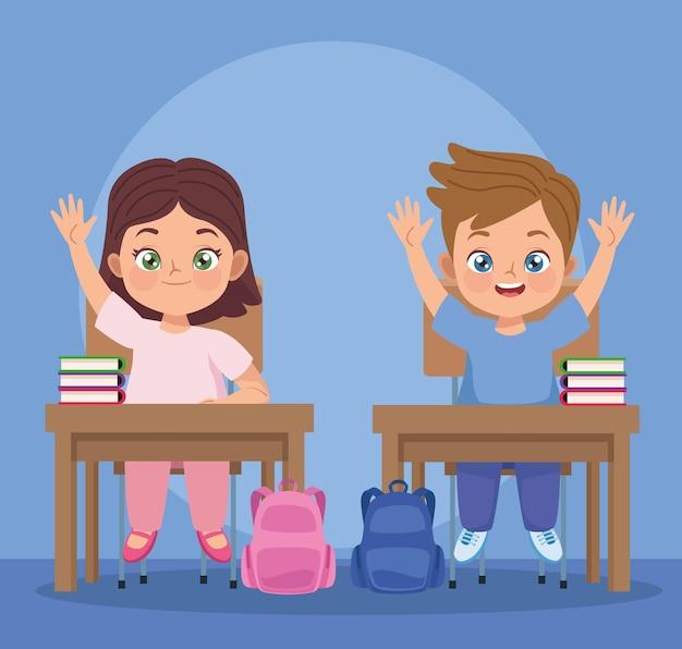 Casal de crianças na sala de aula