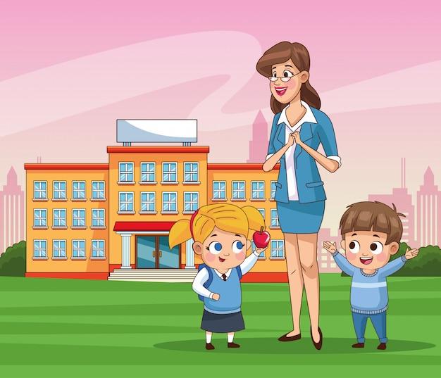 Casal de crianças pequenas alunos com escola ao ar livre do professor