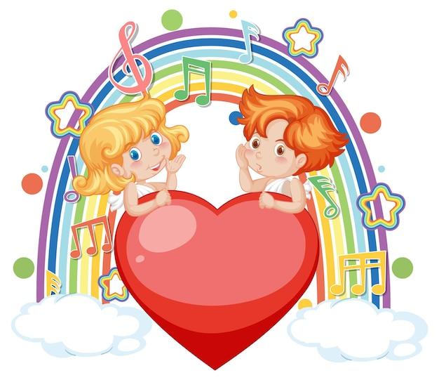 Casal de cupido na nuvem com símbolos de melodia no arco-íris