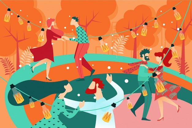 Casal de dançarina de pessoas dos desenhos animados no parque de pista de dança