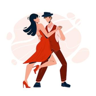 Casal de dançarinos performáticos dançando salsa