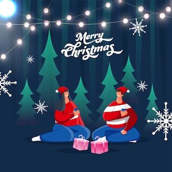 Casal de desenho animado apreciando bebidas no feliz natal ou na temporada de inverno
