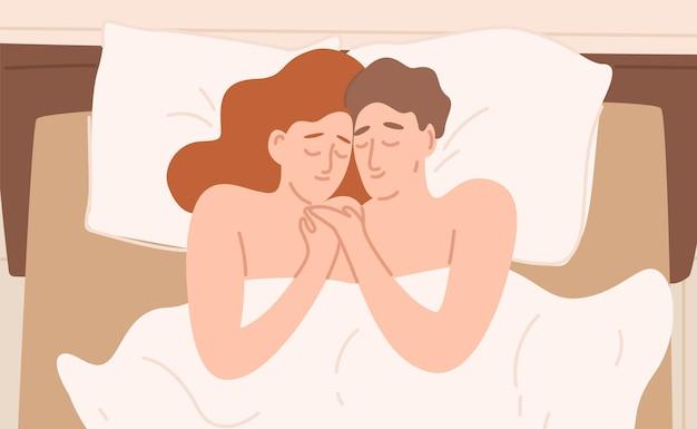 Casal de desenho animado romântico em ilustração plana de cama
