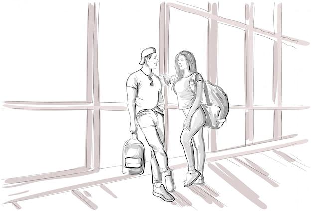 Casal de desenho no saguão do aeroporto esperando o voo de partida homem e mulher viagem de férias