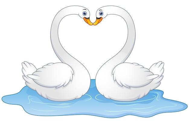 Casal de desenhos animados cisnes amante beijando