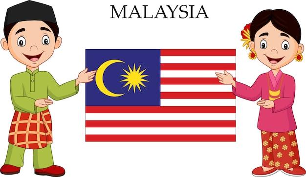 Casal de desenhos animados da malásia vestindo traje tradicional