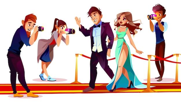 Casal de desenhos animados de celebridades famosas no tapete vermelho com paparazzi