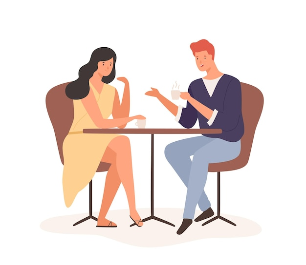 Casal de desenhos animados desfrutar de um encontro romântico beber café juntos ilustração vetorial plana. feliz homem e mulher sentada à mesa e se comunicar no café isolado no branco. amor de sentimento masculino e feminino alegre.