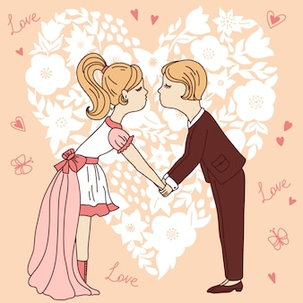 Casal de desenhos animados em fundo de forma de coração. cartão de dia dos namorados