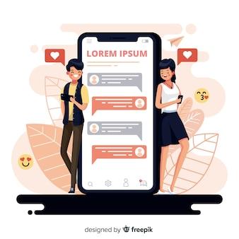 Casal de design plano conversando sobre namoro app com emojis