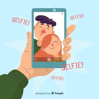 Casal de design plano levando selfie juntos