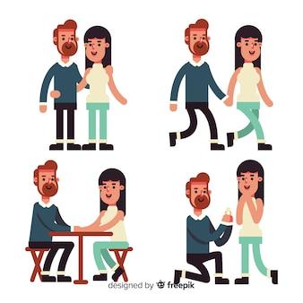 Casal de design plano no conjunto de amor