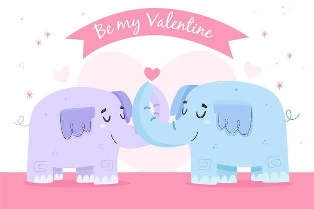 Casal de elefantes fofos do dia dos namorados