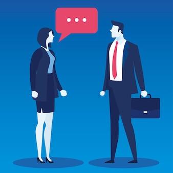 Casal de empresários elegantes falando personagens de avatares