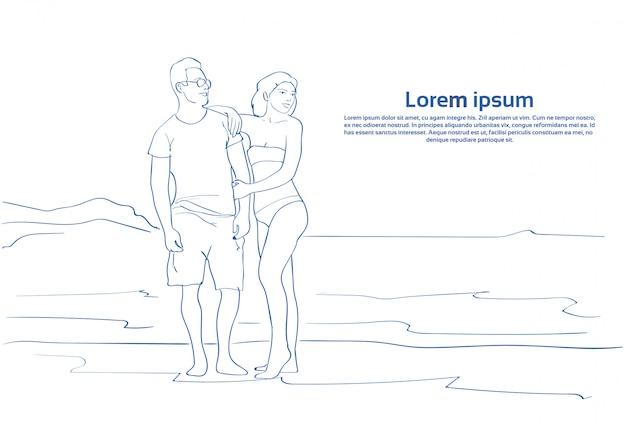 Casal de esboço abraçando na praia do mar homem e mulher em férias