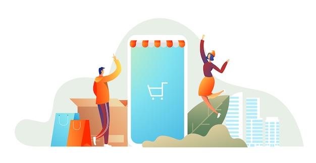 Casal de família feliz com compras. homem com uma cesta de compras e uma mulher com os pacotes