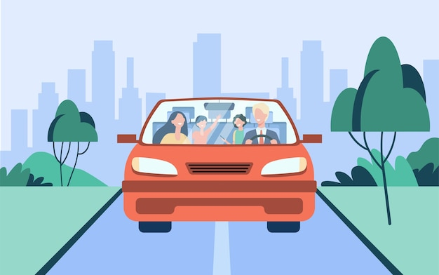 Casal de família feliz e duas crianças andando no carro. pai dirigindo automóvel. vista frontal. ilustração vetorial para viagens, viagens rodoviárias, conceito de transporte