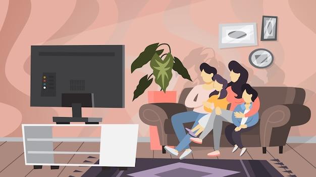 Casal de família sentado em casa no sofá