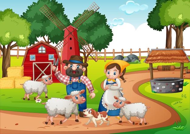 Casal de fazendeiros com animais