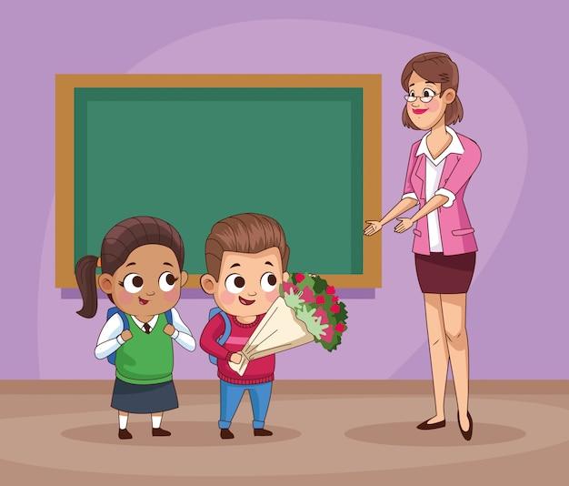 Casal de filhos pequenos alunos com professor na ilustração de sala de aula