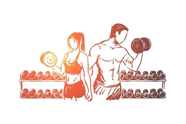 Casal de fisiculturistas malhando na academia, ilustração de exercícios de levantamento de peso