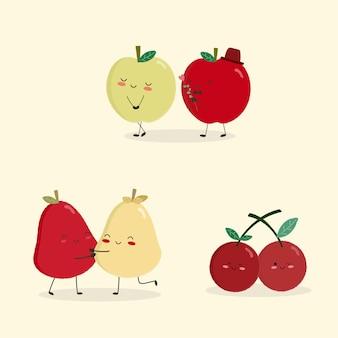 Casal de frutas bonito dos desenhos animados no amor.