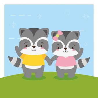 Casal de gambá, bonito animal cartoon e estilo simples, ilustração
