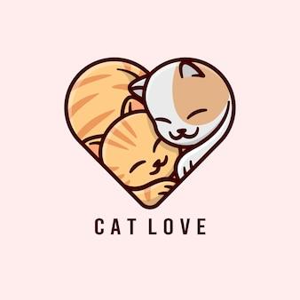 Casal de gato bonito abraçando um ao outro e toma uma forma de coração