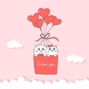 Casal de gato bonito em desenhos animados de balões de coração para o dia dos namorados.