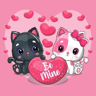 Casal de gato fofo para o dia dos namorados. convite. ilustração