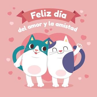 Casal de gatos celebrando o amor