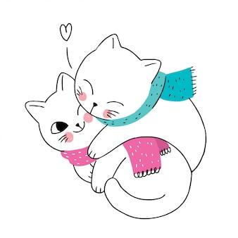 Casal de gatos de inverno bonito dos desenhos animados e cachecol