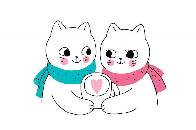 Casal de gatos de inverno bonito dos desenhos animados e xícara de café