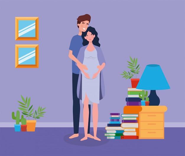 Casal de gravidez na cena do lugar de casa