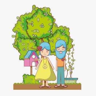Casal de hippies no jardim
